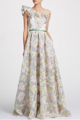 Marchesa Notte Ivory One Shoulder Metallic Floral A Line Gown