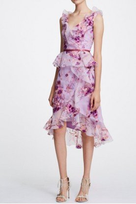 Lilac Pink Midi Floral Organza Cocktail Dress