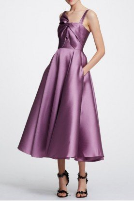 Marchesa Notte Lilac Sleeveless Mikado Midi Tea Dress