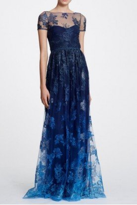 Navy Blue Short Sleeve Metallic Lace Ombre Gown