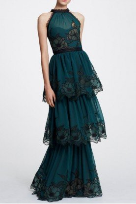 Marchesa Notte Emerald Green Sleeveless Tiered Evening Gown