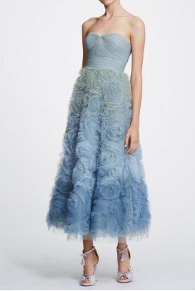 Marchesa Notte Light Blue Strapless Ombre Midi Tea Dress