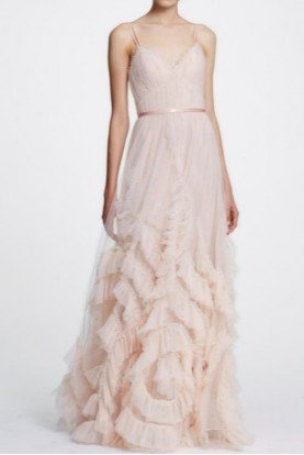 Blush Sleeveless Textured Tulle A Line Ball Gown