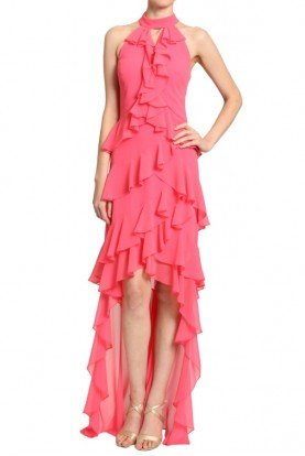 Badgley Mischka Mikado Pink Ruffle High Low Gown Evening Dress