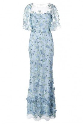 Light Blue Cape Sleeve Beaded Floral Gown