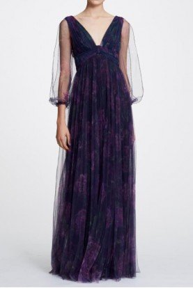 Marchesa Notte Navy Bishop Sleeve Pleated Printed Floral Gown