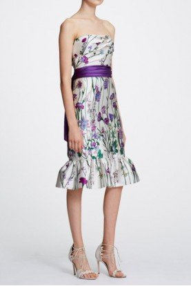 Marchesa Notte Strapless Ivory Floral Printed Mikado Midi Dress