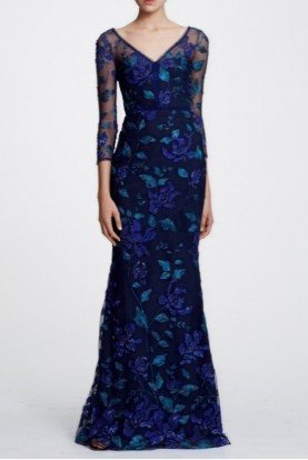 Navy Blue Floral Quarter Sleeve Evening Gown