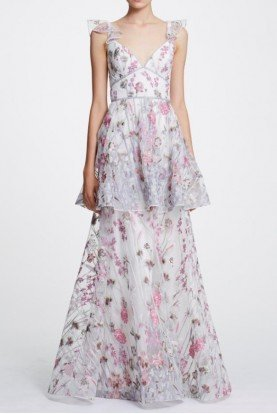 Marchesa Notte Sleeveless Ivory Floral Embroidered Tiered Gown
