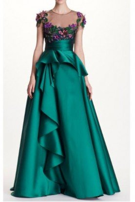 Emerald Green Floral Embroidered Mikado Ball Gown