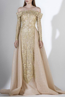 SK by Saiid Kobeisy Gold Off the Shoulder Gown w Overskirt