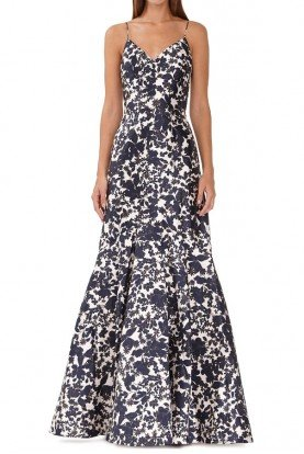 ML Monique Lhuillier Sleeveless Floral Gown
