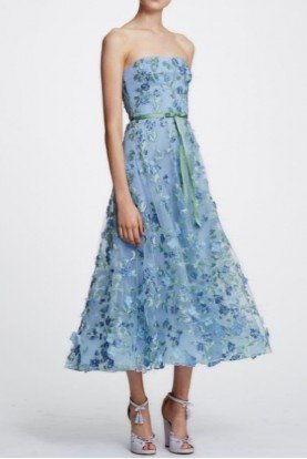 Marchesa Notte Light Blue Strapless 3D Floral Midi Tea Dress