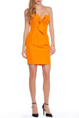 Orange strapless cocktail dress with a bow XS 0
