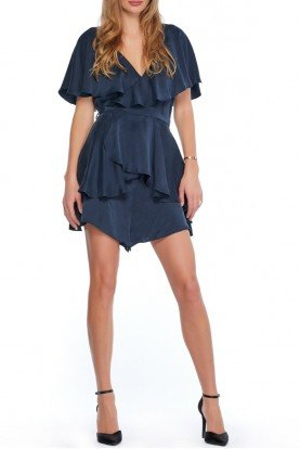 Wrap Blue Knee Length Romper