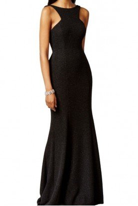 Xscape Sparkly Black Ruffle Open Back Evening Gown Dress