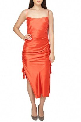 Coral Silk Sleeveless Midi Cocktail Dress