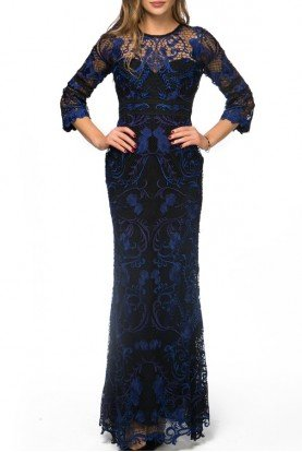 Marchesa Notte Embroidered blue black