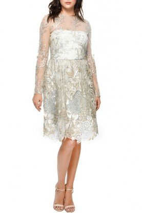 Silver Embroidered Lace Long Sleeve Cocktail Dress