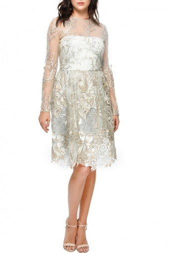 Mikael Aghal Silver Embroidered Lace Long Sleeve Cocktail Dress