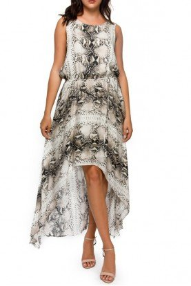 Haute Hippie Silk High Low Snake Print Dress