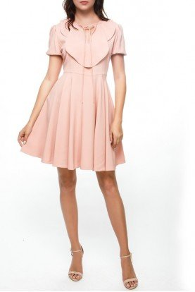 Blush Pink Cap Sleeve A Line Party Dress