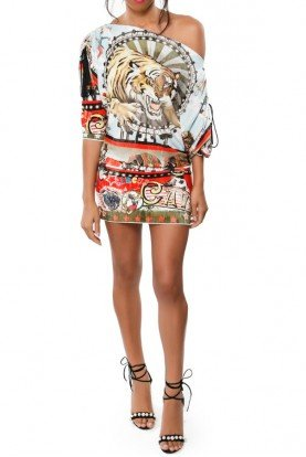 One Shoulder Circus Print Mini Dress