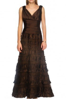 Chocolate Bronze V Neck A Line Ruffle Satin Gown