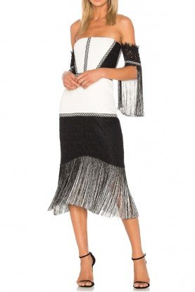 Alexis Black White Lace Fringe Antoinette Dress