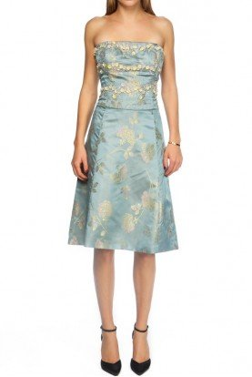 Silk Light Blue Floral Beaded A Line Dress
