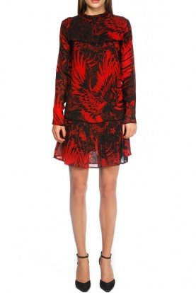 Long Sleeve Red and Black Floral Cocktail Dress