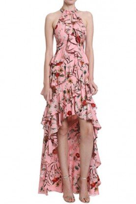 Badgley Mischka Rose Tiered Floral High Low Halter Gown Long Dress