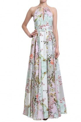 Badgley Mischka Pink Multi Floral Halter Neck Gown Long Dress