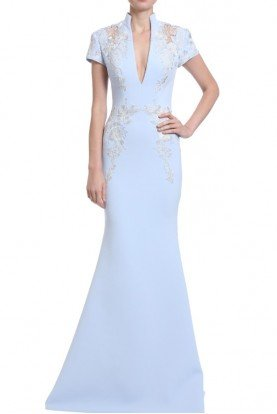 Badgley Mischka Sky Blue High Neck Cap Sleeve Evening Gown
