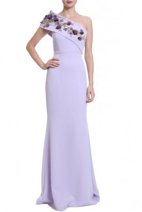 Badgley Mischka Lilac One Shoulder Evening Gown
