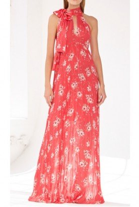Coral Red Pleated Sleeveless Floral Evening Gown