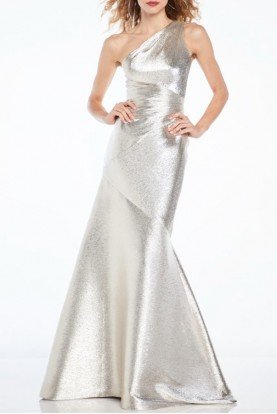 theia Silver One Shoulder Evening Gown