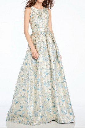 Floral Sleeveless A Line Evening Gown