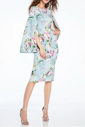 Theia Floral Cape Sleeve Cocktail Dress