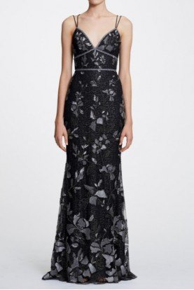Marchesa Notte Sleeveless Floral Metallic Evening Gown N29G0835