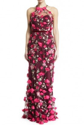Marchesa Notte Wine Red 3D Chiffon Flower Halter Gown