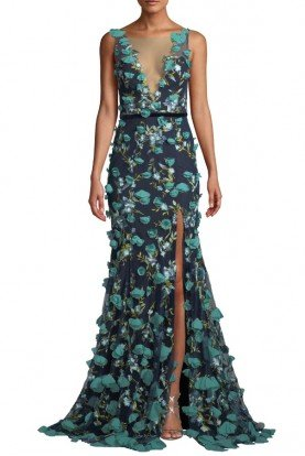 Marchesa Notte Navy Sleeveless V Neck 3D Flower Embroidered Gown