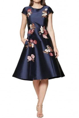 Midnight Blue A Line Floral Cap Sleeve Leigh Dress