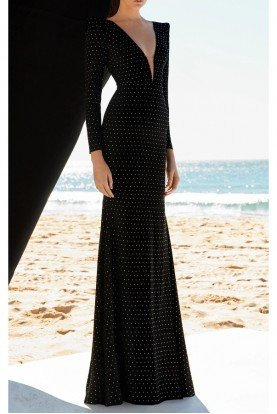 Alex Perry  Black Lyra Crystal Long Sleeve Gown