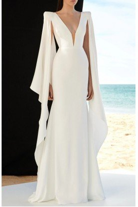 Alex Perry  White Cassine Satin Crepe Long Sleeve Gown