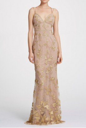 Sleeveless Floral Metallic Evening Gown