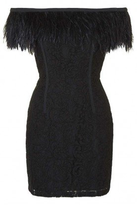 Black Feather Off the Shoulder Lace Cocktail Dress