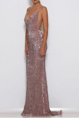 Blush Pink Sequin Jilah Gown Open Back Dress