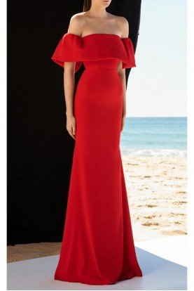 Alex Perry  Clemente Satin Crepe Red Off Shoulder Gown