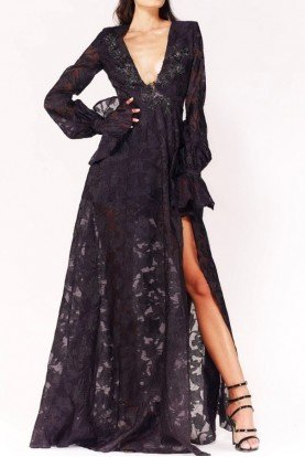 Black V Neck Long Sleeve A Line Evening Gown